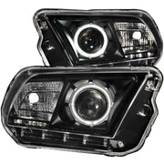ANZO 2010-2014 Ford Mustang Projector Headlights w/ Halo Black (CCFL)