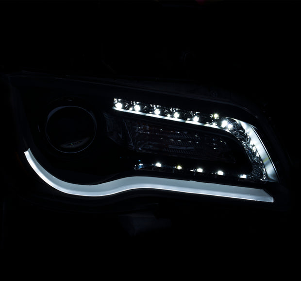 ANZO 2011-2014 Chrysler 300 Projector Headlights w/ Plank Style Design Black