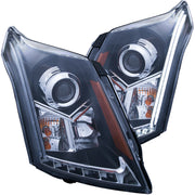 ANZO 2010-2015 Cadillac Srx Projector Headlights w/ Plank Style Design Black