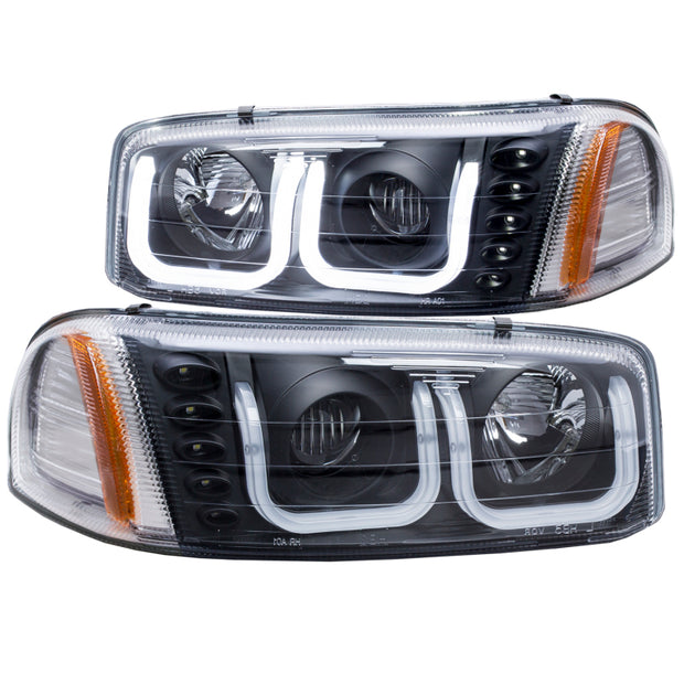 ANZO 1999-2006 Gmc Sierra 1500 Projector Headlights w/ U-Bar Black