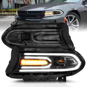 ANZO 2015-2018 Dodge Charger Projector Headlights Plank Style Black