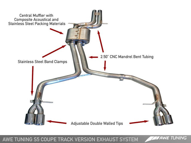 AWE Tuning Audi B8 S5 4.2L Track Edition Exhaust System - Polished Silver Tips