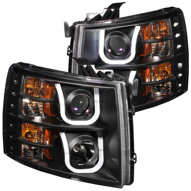 ANZO 2007-2013 Chevrolet Silverado 1500 Projector Headlights w/ U-Bar Black