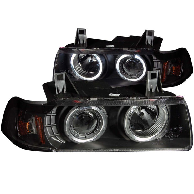 ANZO 1992-1998 BMW 3 Series E36 Projector Headlights w/ Halo Black G2 1 pc