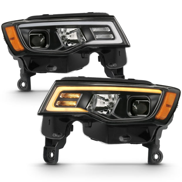 ANZO 2017-2018 Jeep Grand Cherokee Projector Headlights w/ Plank Style Switchback - Black w/ Amber