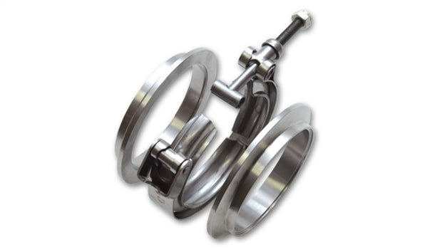 Vibrant T304 SS V-Band Flange Assembly for 3in O.D. Tubing incl 2 V-Band flanges & 1 V-Band Clamp