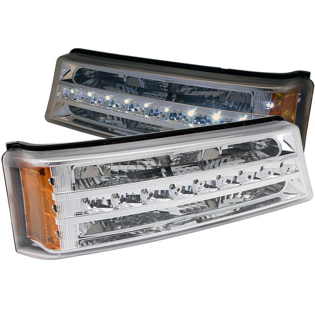 ANZO 2003-2006 Chevrolet Silverado 1500 LED Parking Lights Chrome w/ Amber Reflector