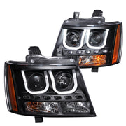 ANZO 2007-2013 Chevrolet Avalanche Projector Headlights w/ U-Bar Black