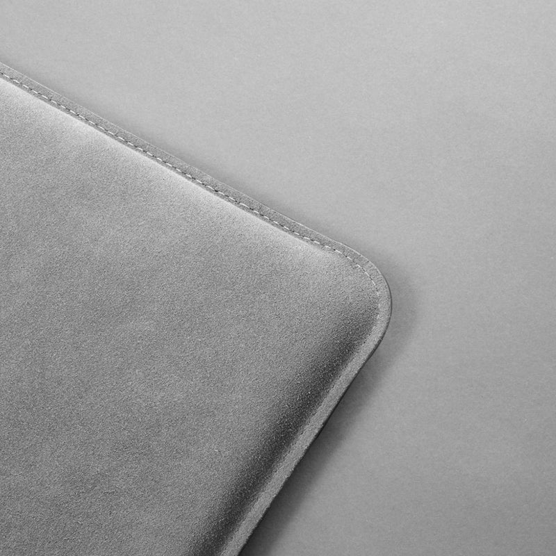 Leather laptop case - Remy Grey Suede