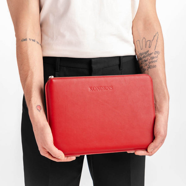 Leather laptop case - Luna Red Nappa