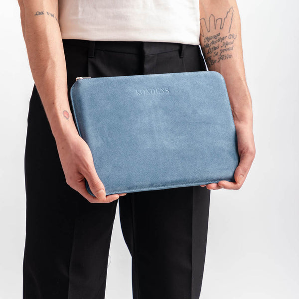 Leather laptop case - Kim Blue Suede