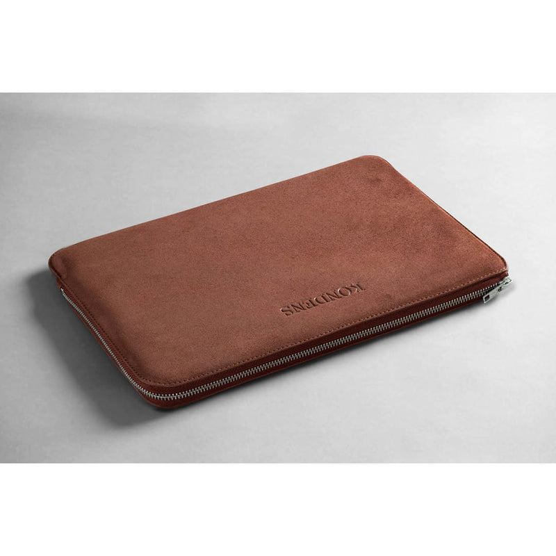 Leather laptop case - Nicco Red Suede