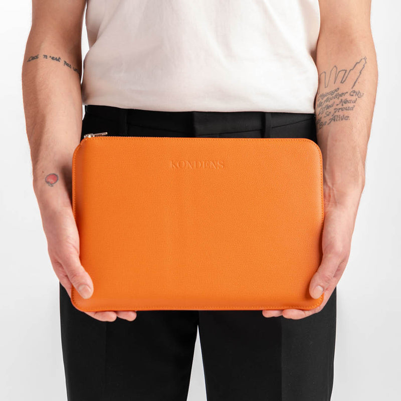 Leather laptop case - Cali Orange Grain