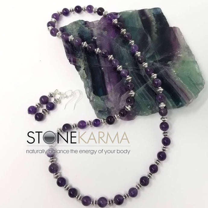 ♥ FOCUS & HEALING 8mm Amethyst Necklace & Earrings
