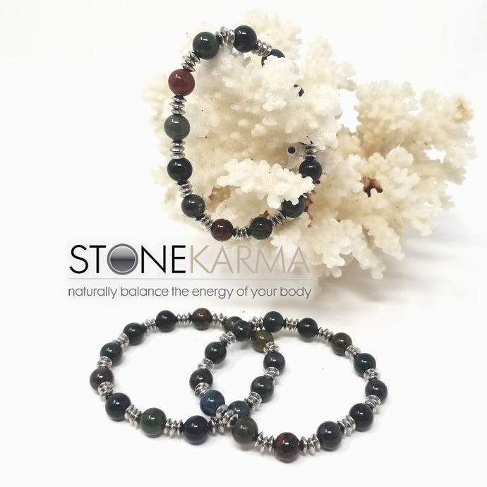 ♥ STRENGTH & COURAGE 8mm Bloodstone Bracelet