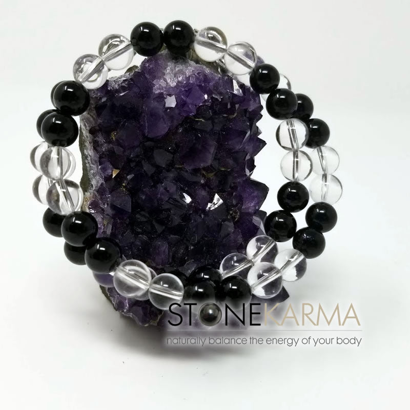 ♥  TRUTH & FOCUS Black Obsidian & Clear Crystal Bracelet