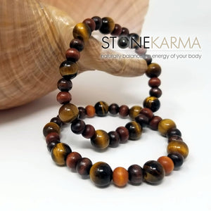 ♥ Waterfront Artist™ LUCK & PROTECTION Mens 10mm Tiger Eye & Wood Bead Bracelet