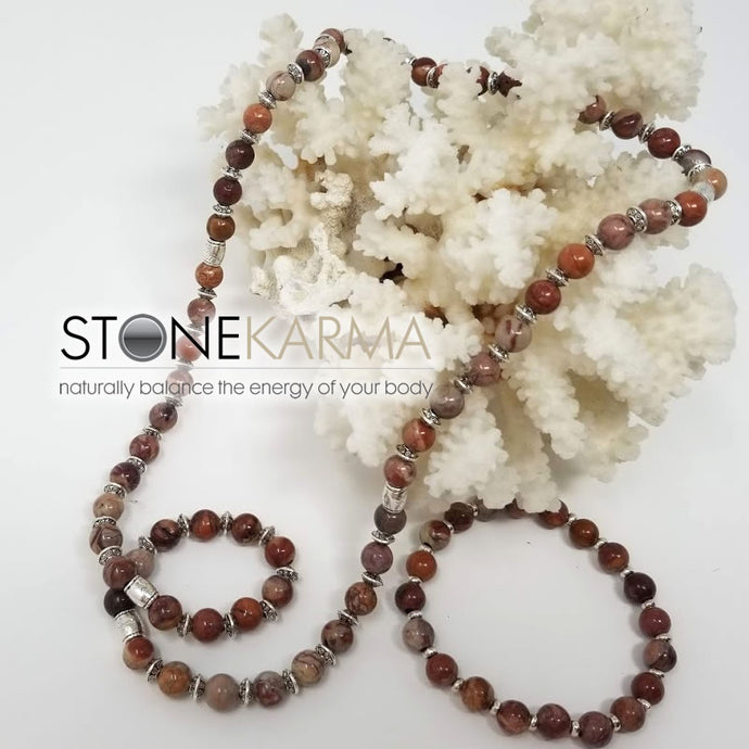 ♥ Waterfront Artist™ HEALING & STRENGTH 8mm Red Porcelain Jasper Necklace & Bracelet