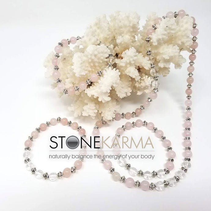♥ LOVE & PROTECTION 8mm Rose Quartz, Clear Quartz Bracelet & Necklace