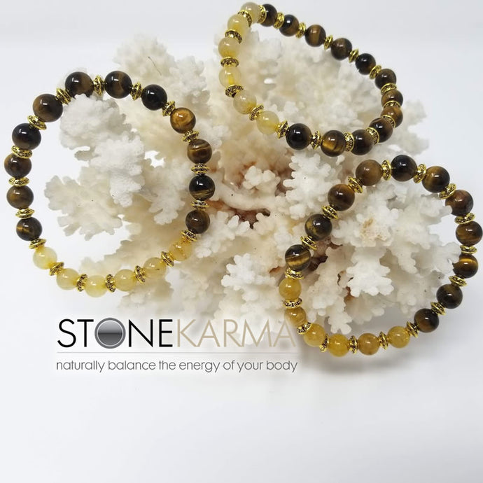 ♥  Waterfront Artist™ TRUTH, LUCK & PROTECTION   8mm Tiger Eye, Rutilated Quartz Bracelet