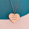 Tacos Before Vatos Engraved Heart Necklace