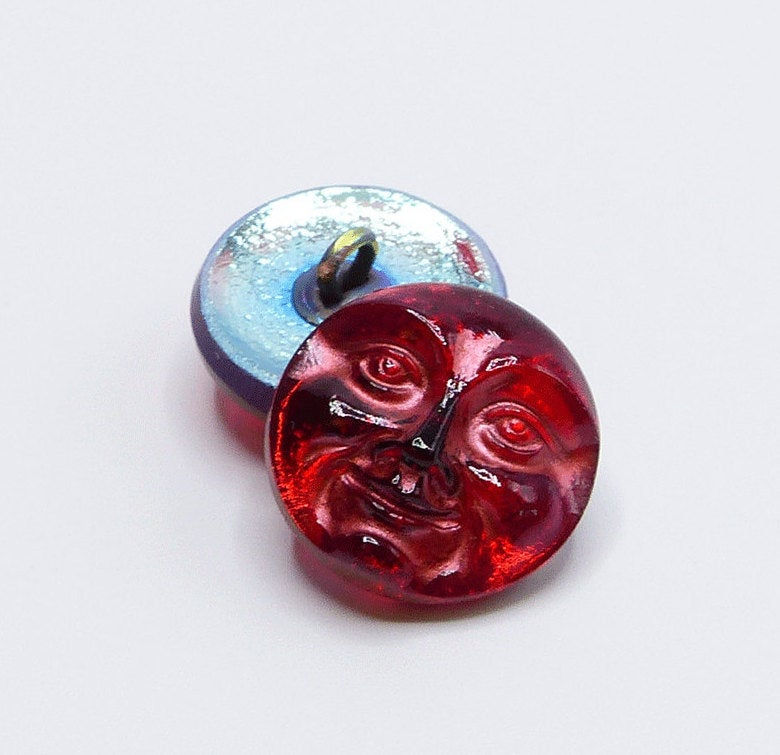 Czech Glass Man in the Moon Button