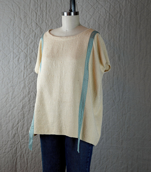 Raw Silk Top with Silk Ribbon and Hand Stitching