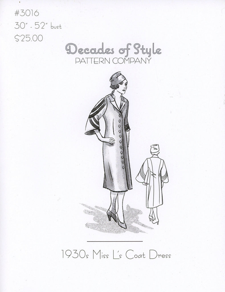 Miss L's Coat Dress 1930's Decades of Style Vintage Style Sewing Pattern