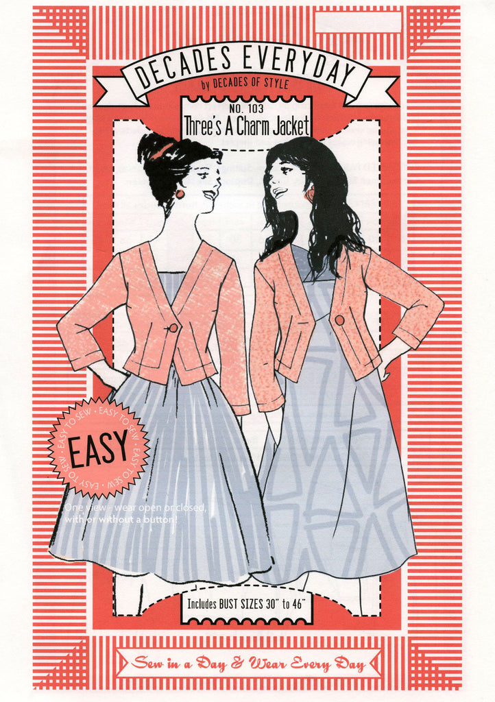 Three's a Charm Jacket Decades of Style Vintage Style Sewing Pattern