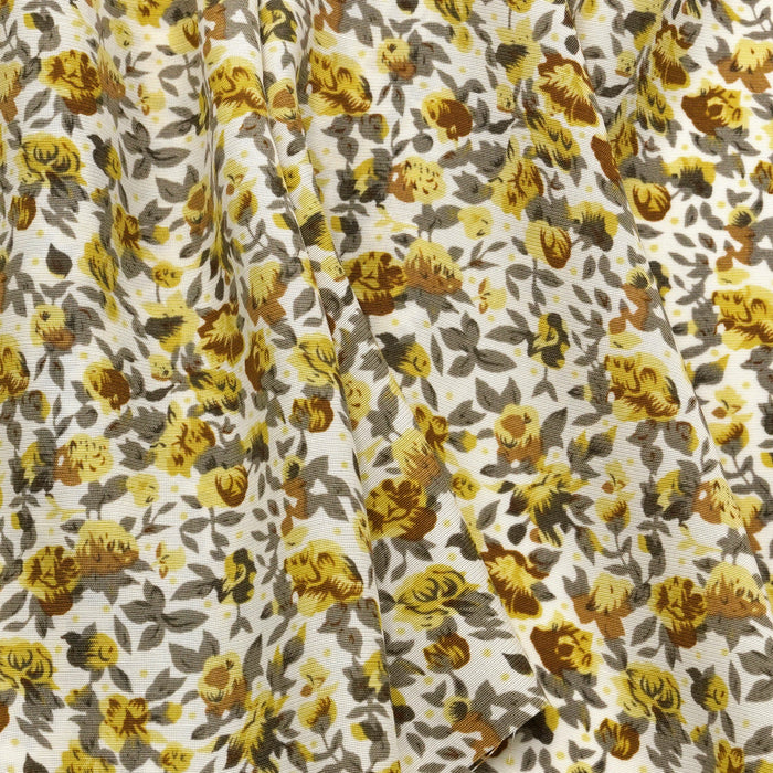 100% Rayon Challis Fabric Vintage Yellow and Grey
