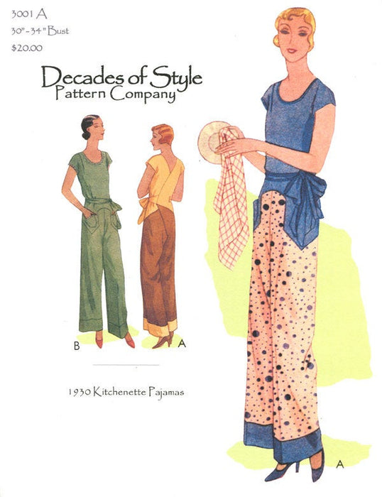 Kitchenette Pajamas 1930 Decades of Style Vintage Style Sewing Pattern