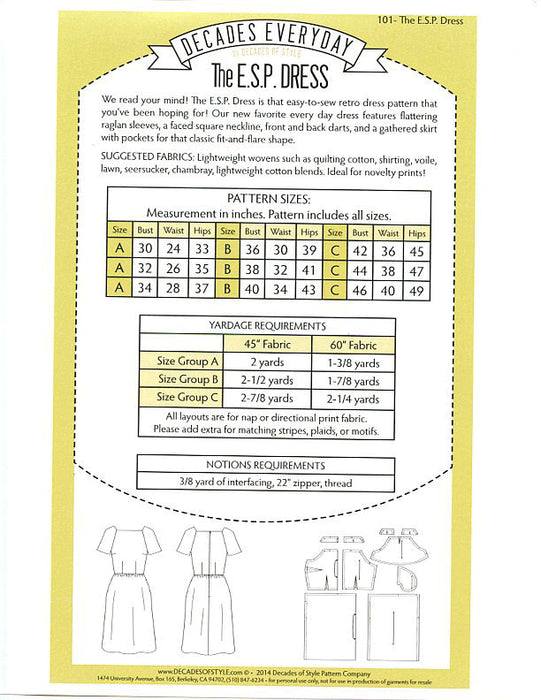 ESP Dress Pattern Sewing Pattern