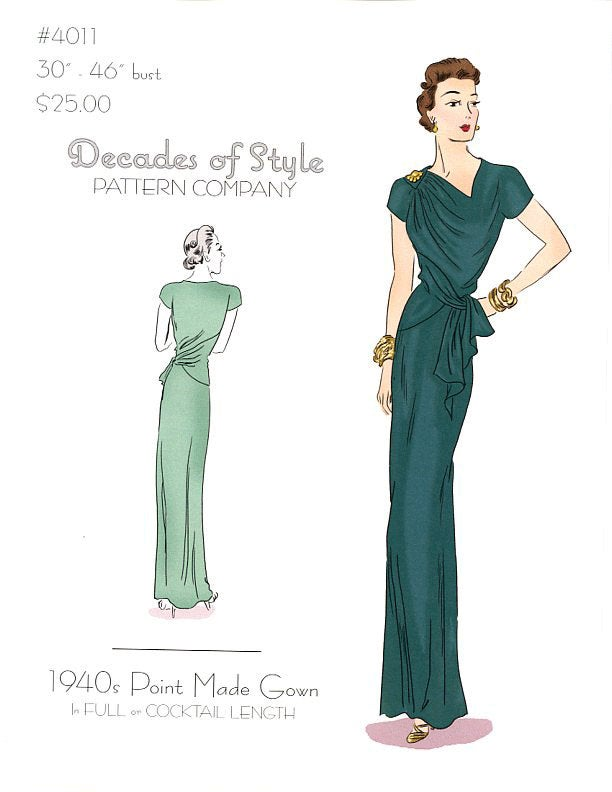 Point Made Gown 1940 Decades of Style Vintage Style Sewing Pattern