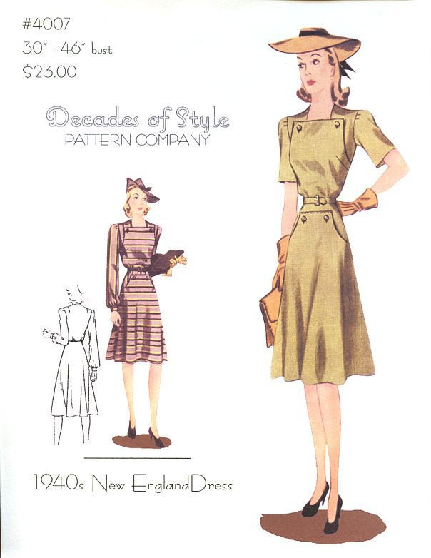 New England Dress 1940  Decades of Style Vintage Style Sewing Pattern