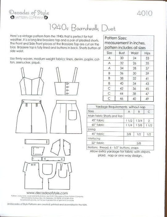 Boardwalk Duet 1940 Sewing Pattern