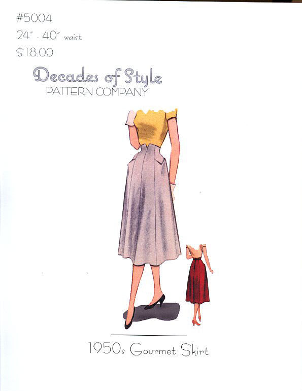 Gourmet Skirt 1950  Decades of Style Vintage Style Sewing Pattern