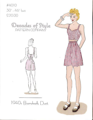Boardwalk Duet 1940  Decades of Style Vintage Style Sewing Pattern