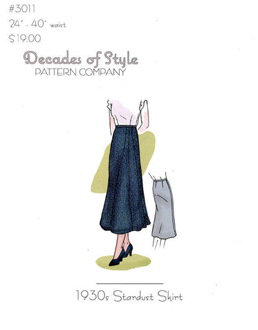 Stardust Skirt 1930's  Decades of Style Vintage Style Sewing Pattern