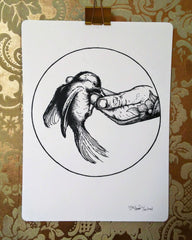Baby Crow Letterpress Poster
