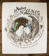 Native Bees Letterpress Poster