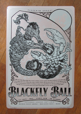 2016 Blackfly Ball Letterpress Poster - Black/Ice