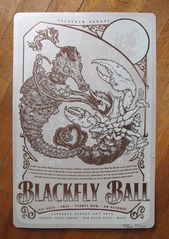 2016 Blackfly Ball Letterpress Poster - Brown/Ice