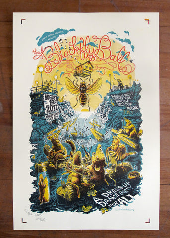 2017 Blackfly Ball Letterpress Poster - uncut