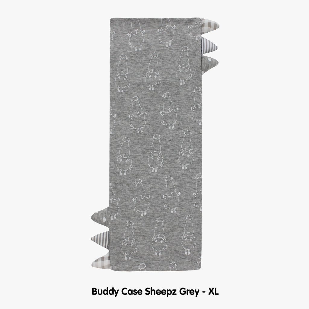 BED-TIME BUDDY™ CASE BIG SHEEPZ GREY WITH STRIPE & POLKA DOT CHECKERS TAG - XL