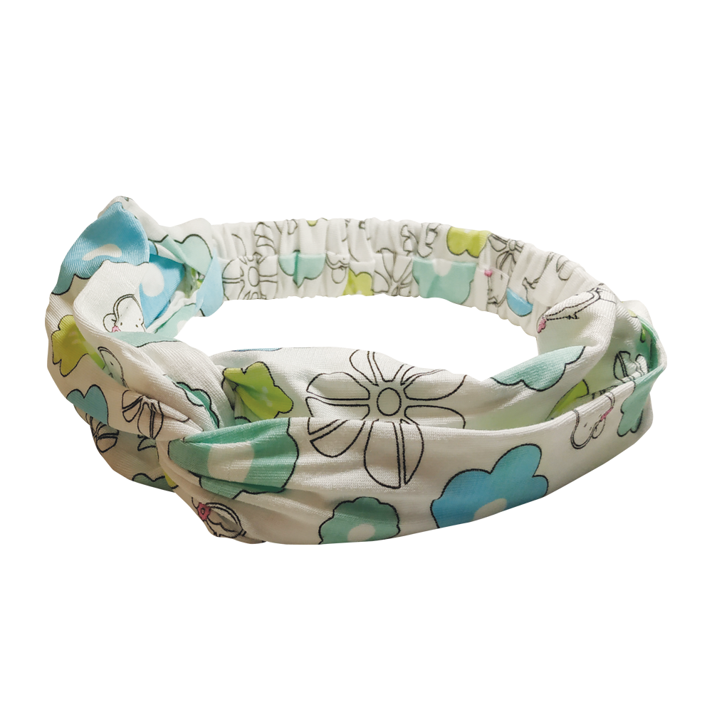 DooDooMooky - Hair Band - Mooky Flower White with Blue and Green Flower - Narrow