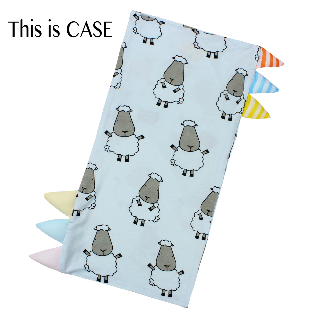 Bed-Time Buddy Case Big Sheepz Blue with Color & Stripe tag - Medium
