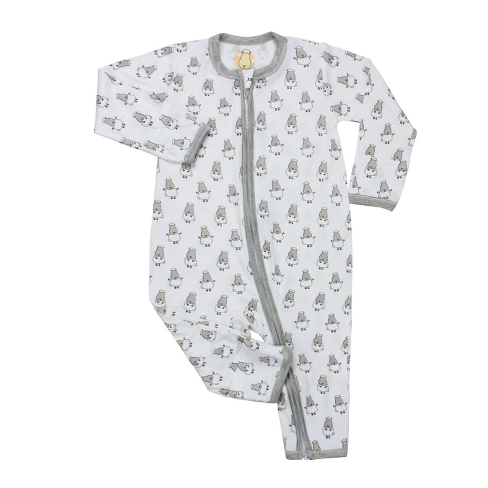 Romper Zip Small Sheepz White