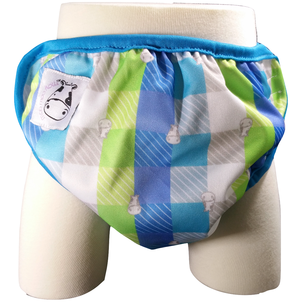 One Size Swim Diaper Checkers with Blue Border