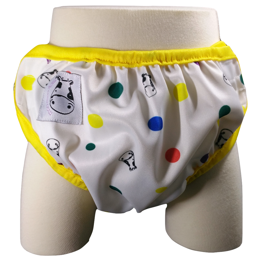 One Size Swim Diaper Dot Dot with Yellow Border