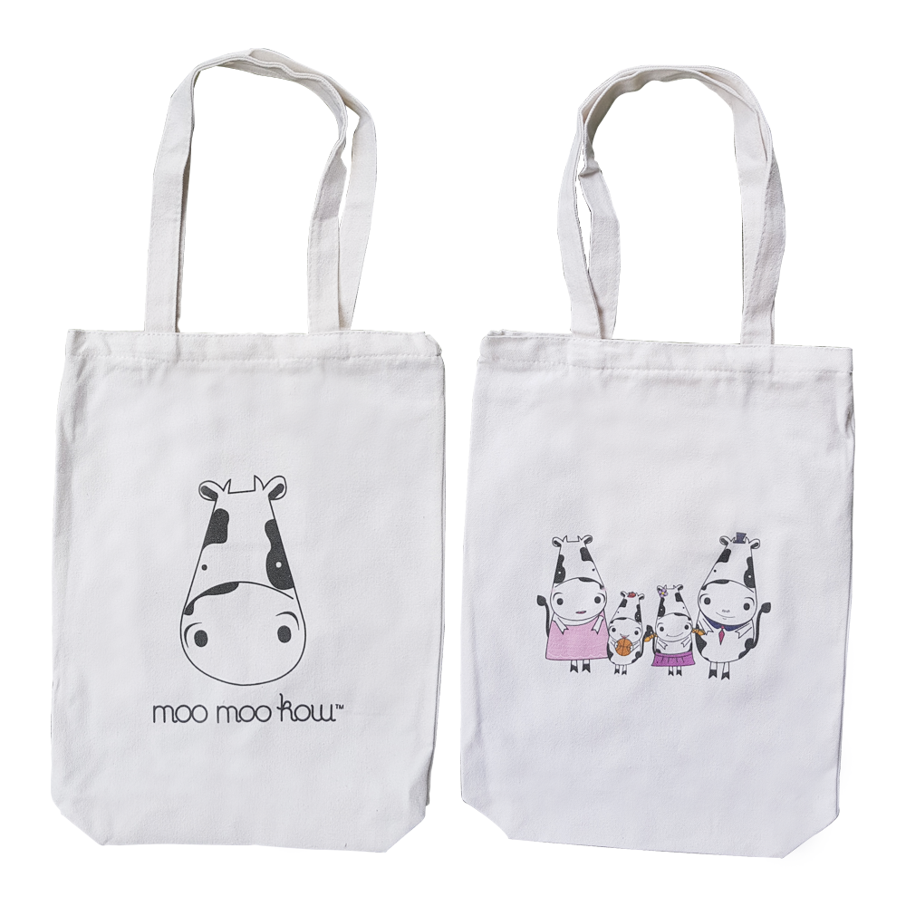 Canvas Tote Bag  Moo Moo Kow Family  White